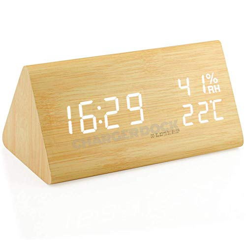 CHARGER DOCK Digitale alarm Clock LED Digital Desk Clock / 3 Set Alarm/Voice Control/vochtigheid weergave/helderheid USB opladen