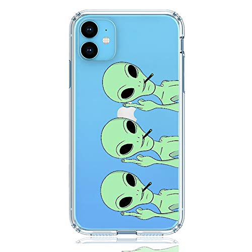 HUIYCUU Compatible with iPhone 11 / XI Case, Shockproof Anti-Slip Cute Green Animal Clear Design Pattern Funny Slim Fit Soft TPU Bumper Girl Women Cover Case for iPhone 11 / XI (6.1 inch), Aliens
