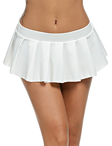 Avidlove Mini Rock Schulmädchen Skirt Damen Kurz Minirock Röcke Frauen Sexy Dessous Solid gefaltet Nachtwäsche Reizvolle, Weiß, S
