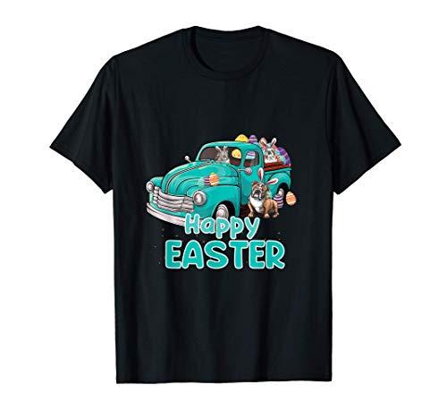Bunny Bulldog happy easter day truck dog for men women kids Camiseta