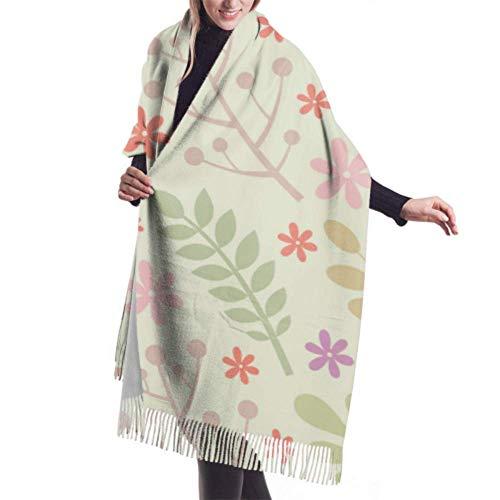 DISADI Klassischer Kaschmir fühlen sich Unisex Winterschal, Blätter Blumen Beeren...