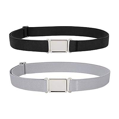 JASGOOD Kids Adjustable Magnetic Belt Boys Girls Toddler Elastic Belt with Easy Magnetic Buckle(Black+Grey,Pant Size16-26Inch)