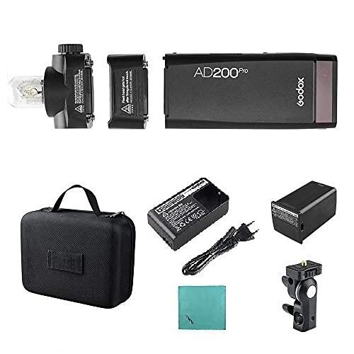Godox AD200Pro Pocket Flash Tragbarer kabelloser TTL-Blitz mit wechselbarem Blitzkopf (Speedlite/nackte Birne) GN52 GN60 1 / 8000s HSS Kompatibel mit Nikon...