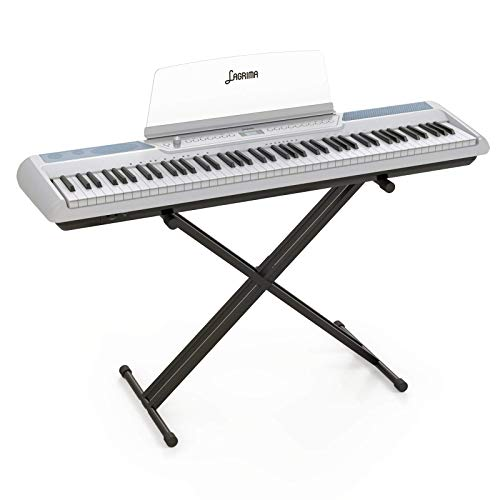 LAGRIMA LAG-570 Full Size Weighted Key Portable Digital Piano, 88 Key Electric Keyboard Piano for Beginner/Adults with Stand, Bluetooth, Headphone, Sustain Pedal, Power Supply, Music Stand, White
