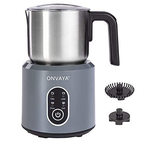 ONVAYA, montalatte elettrico, montalatte automatico, in acciaio inox di alta qualità, lavabile in lavastoviglie, per schiumare e riscaldare il latte