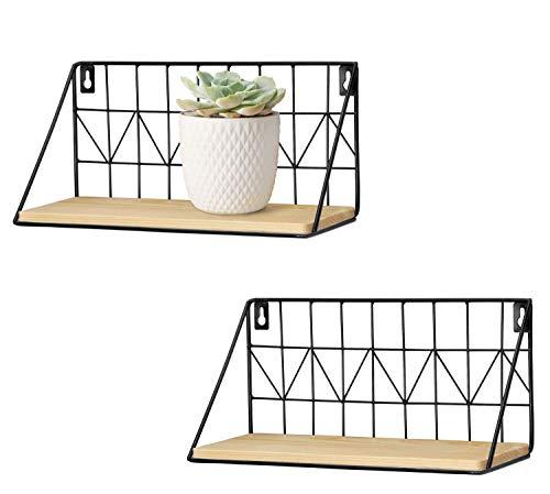 Mkouo Estanterías flotantes montadas en la Pared Juego de 2 estantes de Almacenamiento de Alambre de Metal rústico Estantes de exhibición Decoración para el hogar, 11 1/2 Pulgadas