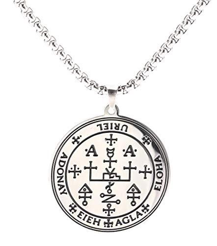 VASSAGO Gótico Sigil de Arcángel Uriel Cadena Collar Grabado Talismán Amuleto Ángel Gargantilla Ancha Joyería Vintage para Hombres