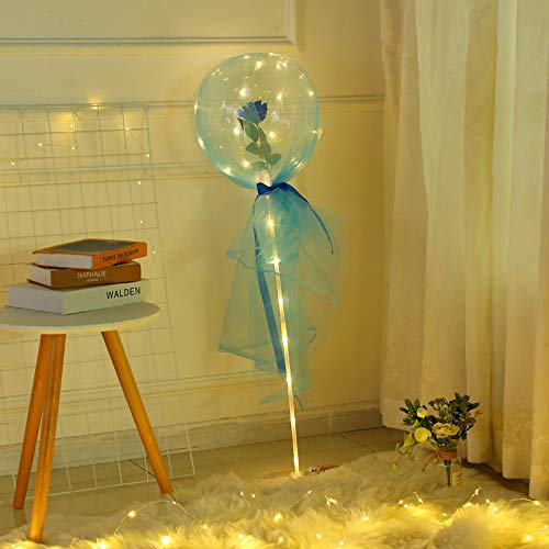 LED Light Up Bobo Balloons Light with Rose Bouquet White Bubble Transparent Helium Balloons Light with Led Strip Transparent Light Up Bubble Balloons for Party Decorations