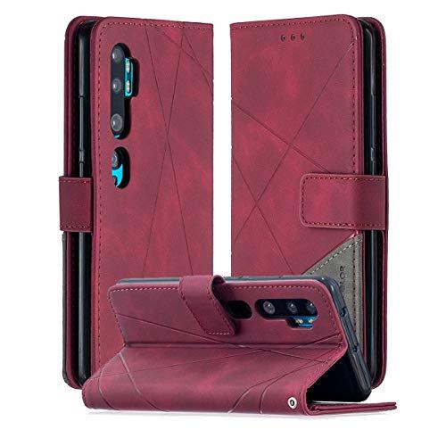 SHUNDA Capa para Xiaomi Mi CC9 Pro, capa flip magnética de couro com compartimento para cartão e suporte para Xiaomi Mi CC9 Pro - Vermelho