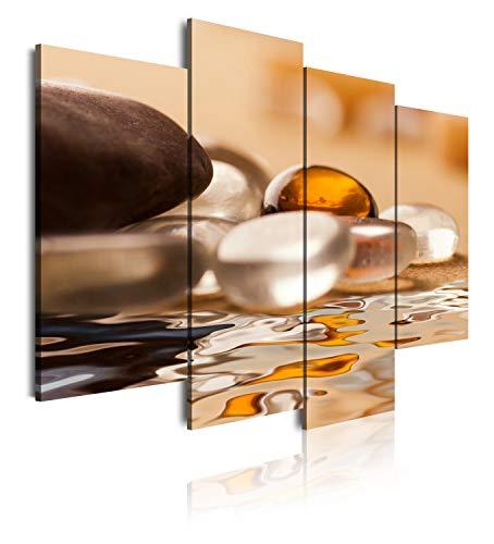 DekoArte 162 - Cuadros Modernos Impresión de Imagen Artística Digitalizada | Lienzo Decorativo para Salón o Dormitorio | Estilo Zen Piedras y Agua En Tonos Blancos, Ocre y Marron | 4 Piezas 120x90cm