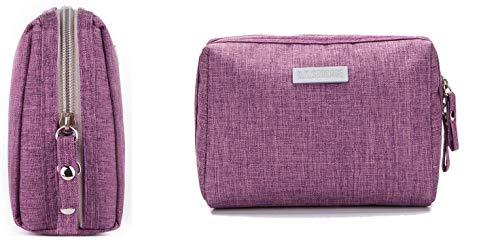 LiDing Bolsa de maquillaje, pequeña bolsa de cosméticos de viaje, bolsa de maquillaje impermeable de nailon para mujeres y niñas Organizar cosméticos (púrpura)