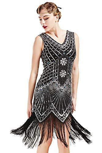 BABEYOND Damen Flapper Kleider voller Pailletten Retro 1920er Party Damen Kostüm Kleid Schwarz, XL