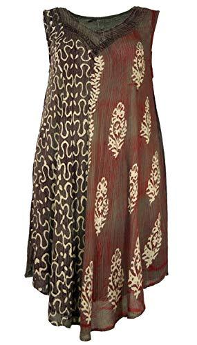 Guru-Shop, Boho Tuniek Jurk XXL, Tie Dye Tuniek Hippie Chique, Rood, Synthetisch, Size:22, Lange Midi-jurken