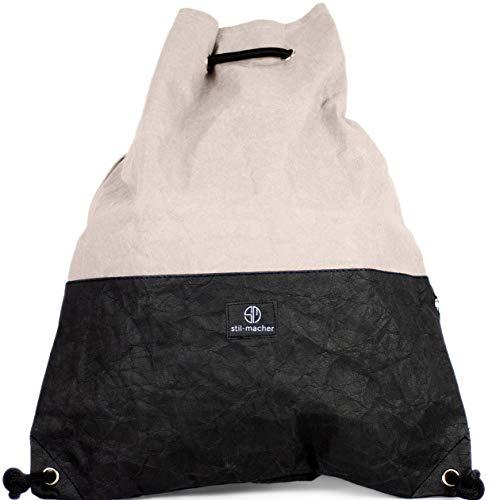 Stil-Macher Design Turnbeutel   für Damen & Herren   Vintage Beutel Rucksack   Cooler Gymsack   Sportbeutel mit Zwei Taschen   Gym Bag aus waschbarem Papier mit Lederoptik   ca. 45 x 40cm