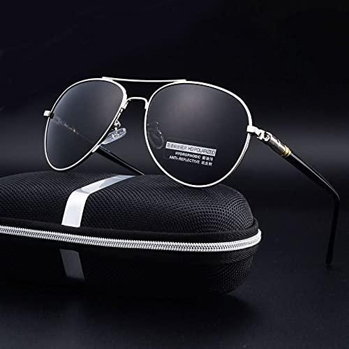 ShZyywrl Gafas De Sol Gafas De Sol Polarizadas De Aluminio Gafas De Sol De Marca Clásica Lente De Revestimiento Gafas De Conducción para Hombres Uv400 Plata