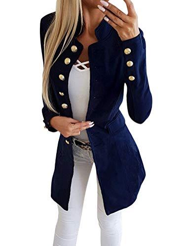 Tomwell Blazer Damen Jerseyblazer Jacke Kurz Langarm Sweatblazer Casual Oberteil Sweat Tailliert Schwarz Slim Business Büro elegant Blau DE 34