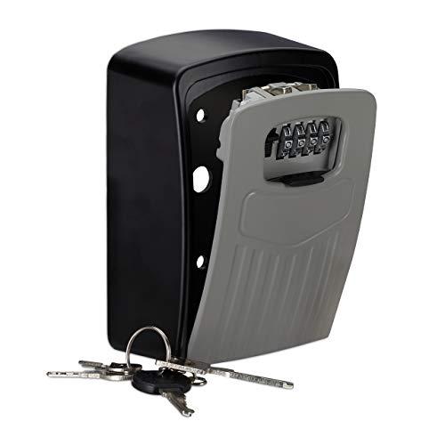 Relaxdays Schlüsseltresor, 4-stelliger Zahlencode, Großer Key Safe zur Wandmontage, HxBxT 14,5x10,5x5 cm, schwarz/grau, 1 Stück