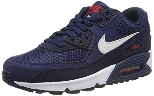 Nike Air MAX 90 Essential, Zapatillas de Gimnasia Hombre, Multicolor (Midnight Navy/White/University Red 403), 45 EU