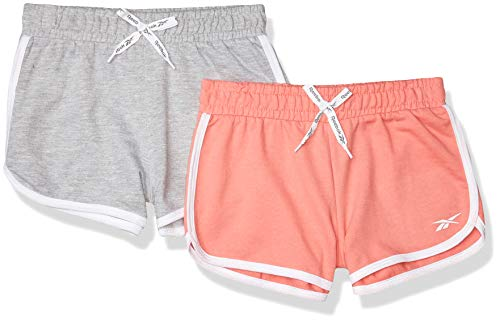 Reebok Girls' Shorts, 3640 Peach-Heather Grey, 8/10