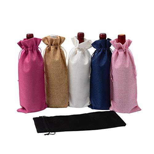 HMILYDYK Bolsas para botellas de vino, bolsas de regalo para bodas, fiestas, bolsas de regalo con cordón para botellas de 750 ml, 6 unidades