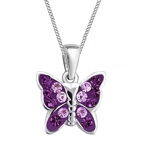 Lila Kristall Schmetterling Anhänger mit Halskette 925 Echt Silber Mädchen Baby Kinder SET (40)