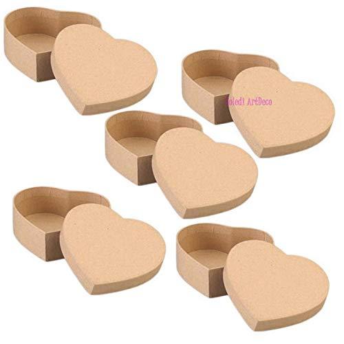 Lote de 5 cajas grandes con tapa, de cartón, 16,5 x 14...