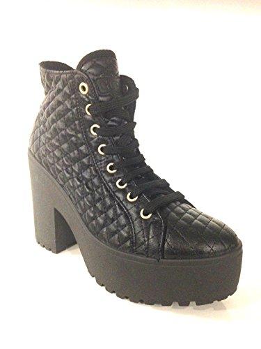 Guess Scarpe Donna Sneaker Zeppa MOD FARABELLA Nylon TRAPUNTATO Nero D15GU33