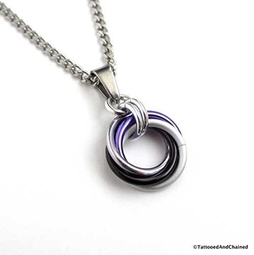 Ace pride pendant necklace, chainmail love knot; black, gray,white, purple