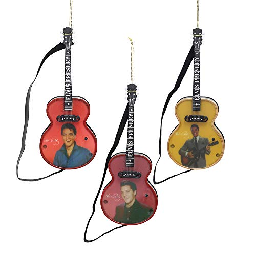 Elvis Presley 3-Piece Collectible Musical Guitar Christmas Ornament Set