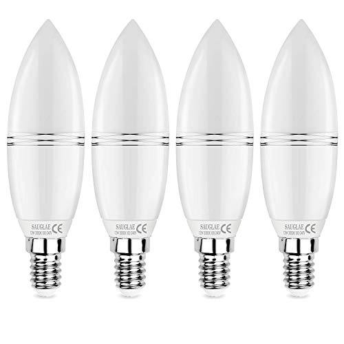 Sauglae E14 LED Bombillas de Vela 12W, 100W Bombillas Incandescentes Equivalente, 3000K Blanco Cálido, 1200Lm, Pequeño Tornillo Edison, Paquete de 4