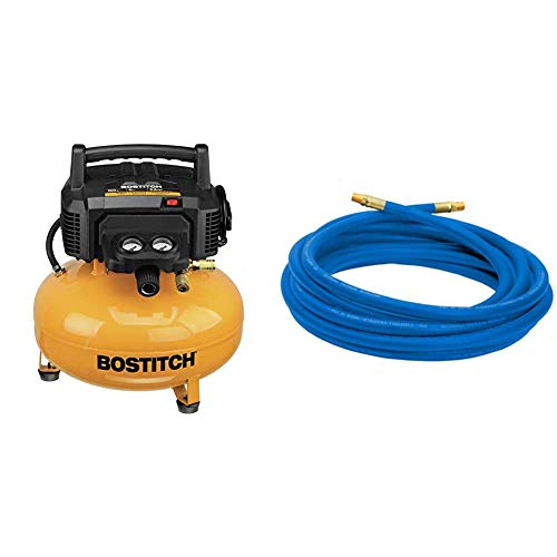 BOSTITCH Pancake Air Compressor, Oil-Free, 6 Gallon, 150 PSI (BTFP02012) & Campbell Hausfeld 25' Air Hose (PA117701AV)