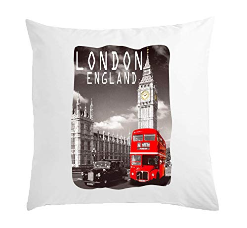 Atprints London England Big Ben And Red Bus Cuscino Bianco 40x40cm