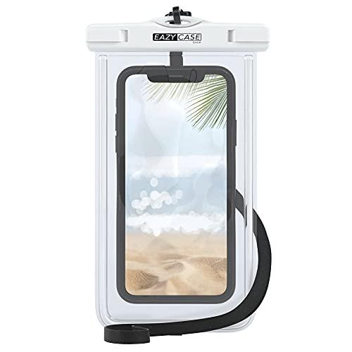 EAZY CASE wasserdichte Handytasche für alle Smartphones bis 6 Zoll, schützt vor Staub, Sand, Schnee, Dreck, Wasser I Schutzhülle mit Umhängeband, IPX8 Zertifiziert, Transparent/Weiß