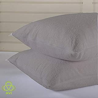Daksh Set of 2 Finest Microfibre King Size Pillow with 2 Pillow Protector/Waterproof Pillow Cover-20x36 (Grey)