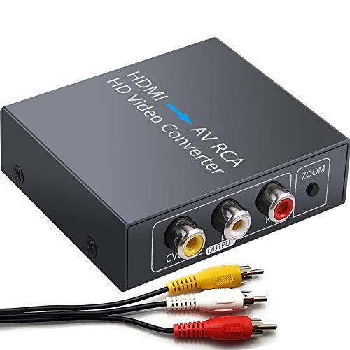 ESYNiC Convertitore HDMI a RCA Adattatore HDMI a AV Convertitore Audio Video 1080P HDMI a AV 3RCA CVBs con LED Indicatore Composito Supporta PAL NTSC con Cavo Audio/Video e USB Cavo di Alimentazione