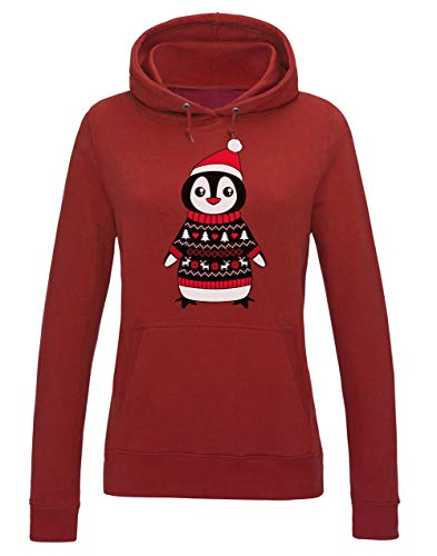 Green Turtle T-Shirts Pull de Noel Pingouin Pinguin Christmas Sweater Sweatshirt Capuche Femme XX-Large Rouge
