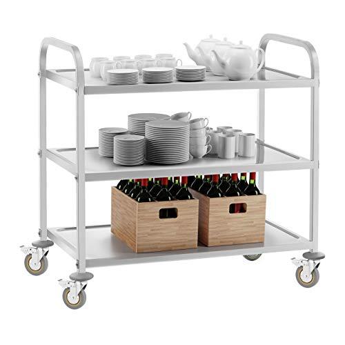 Royal Catering Servierwagen Küchenwagen (3 Borde, 150 kg belastbar, 101 x 55 x 96,5 cm, 28 cm Abstand, Leichtlaufräder, Feststellbremse, Edelstahl) Silber - 7