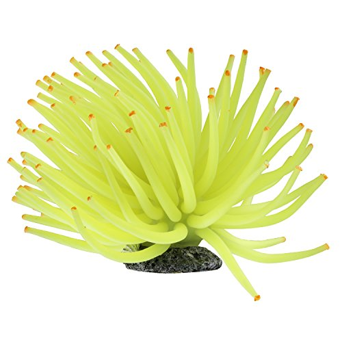 GloFish Yellow Anemone Ornament, Detailed aquarium Ornament, Creates A Glowing Effect