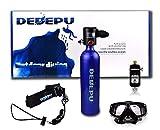 DEDEPU Scuba Diving 1L Tank Oxygen Air Cylinder S4000plus Equipment Set, Underwater Breathing 20-25 Minutes, Converter, Diving Bag (Blue)