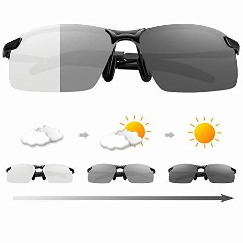 Photochromatisch Sportbrille, Herren Polarisierte Sonnenbrille Metallrahmenbrille Pilot Photochrome Sonnenbrille für Autofahren Laufen Radfahren