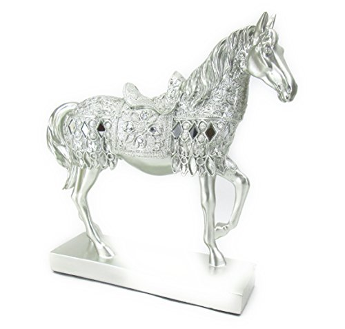 【ノーブランド品】 アンティーク ヨーロピアン風 美しい 装飾 シルバーの 馬の 置物 風水 縁起