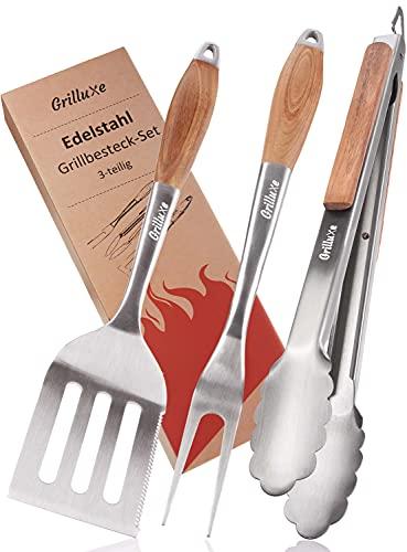 Grilluxe® Premium Grillbesteck Set, 3-teilig | Deluxe BBQ Tool Set | Akazienholz + Edelstahl | Extra lang | Grillzange + Grillwender + Fleischgabel | Grills und Backöfen | Integrierter Flaschenöffner