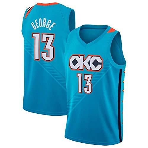 LSJ-ZZ Baloncesto Jersey Hombres Paul George # 13 - NBA Oklahoma City Thunder Nueva Tela Bordada Retro All-Star Jersey Top Deportivo,C,M:175cm/65~75kg