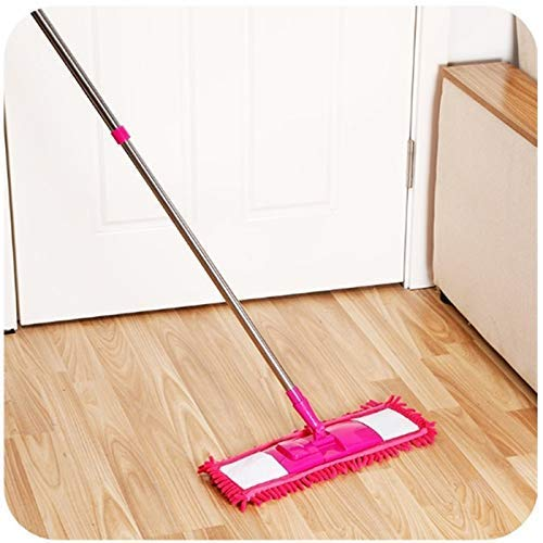 RRJ Wet and Dry Cleaning Flat Microfiber Floor Cleaning Mop with Steel Rod Long Handle Dry Mop, Standard (Pack of 1 Piece, Multi-Colour)
