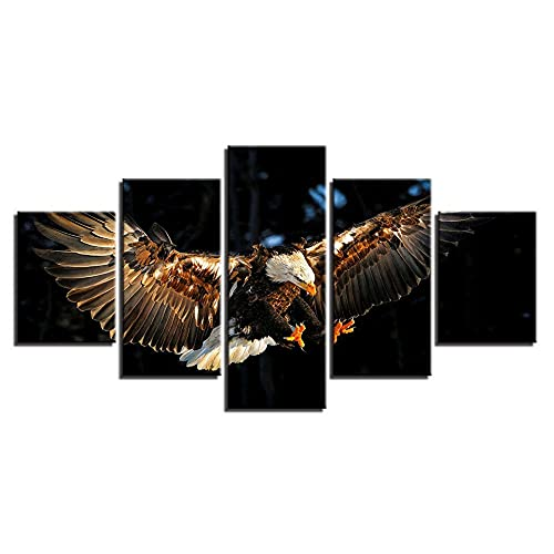 WANGZHONG 5 Piece Canvas Flying Eagle Bird Hunting Food Print For Paintings Posters Artwork Modern Canvas Wall Art For Home And Office Decor 60X32 Inches / 150X80Cm