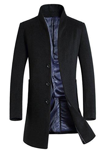 Minibee Men's Trench Coat Wool Blend Slim Fit Long Jacket Business Pea Overcoat Black S Style 1
