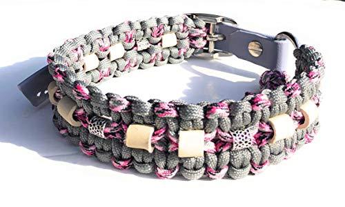 Viva Nature EM-Keramik Zeckenhalsband Zecken-Schutz-Halsband/verstellbar Paracord (35-45 cm, Grau Rosa)