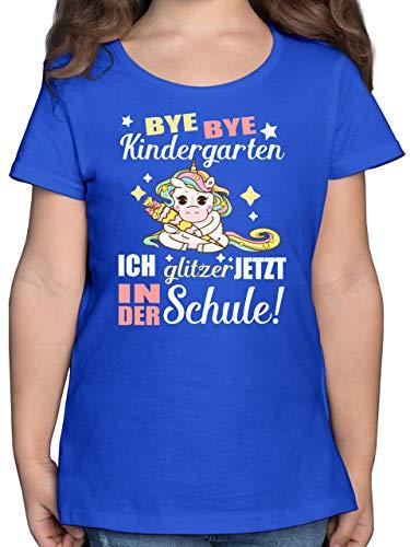 Einschulung und Schulanfang - Ich Glitzer jetzt in der Schule Einhorn mit Schultüte - 164 (14/15 Jahre) - Royalblau - Kinder Shirts Glitzer - F131K - Mädchen Kinder T-Shirt