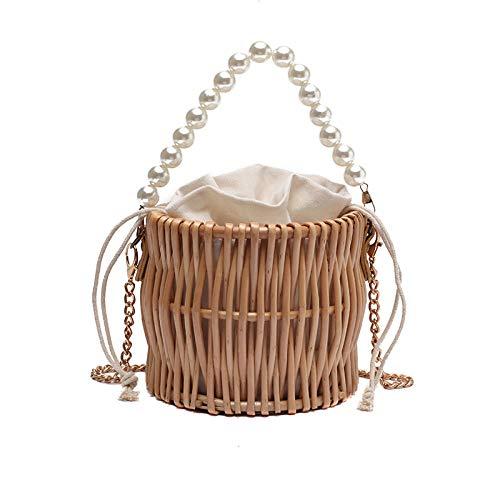 Pearl Hand Woven Handbag Straw Woven Rattan Crossbody Bag Vintga Bamboo Handbag, Handmade Tote Bamboo Purse, Straw Beach Bag For Women Or Girl