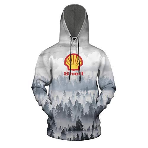 HQWT Men Novelty Hoodies Shell-Gasoline-Gas-Station-Logo- 3D Digital Print Cool Sweatshirt Pockets Pullover